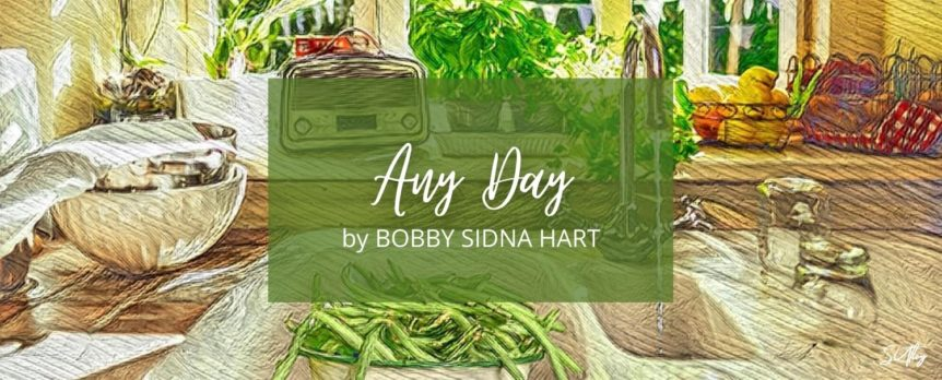 "Title image ""Any Day"" by Bobby Sidna Hart. Beans in a kitchen sink."